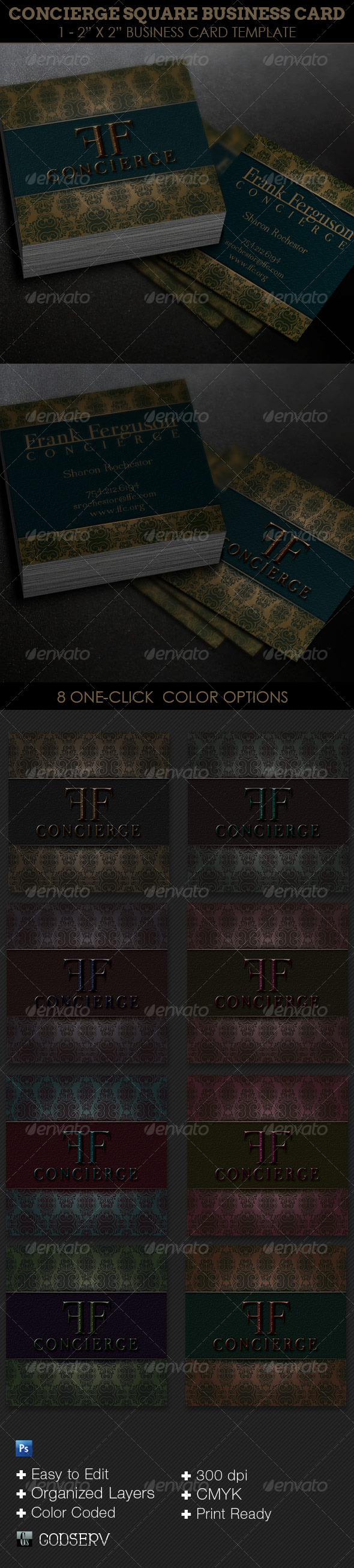 GraphicRiver Concierge Square Business Card Template 6185341