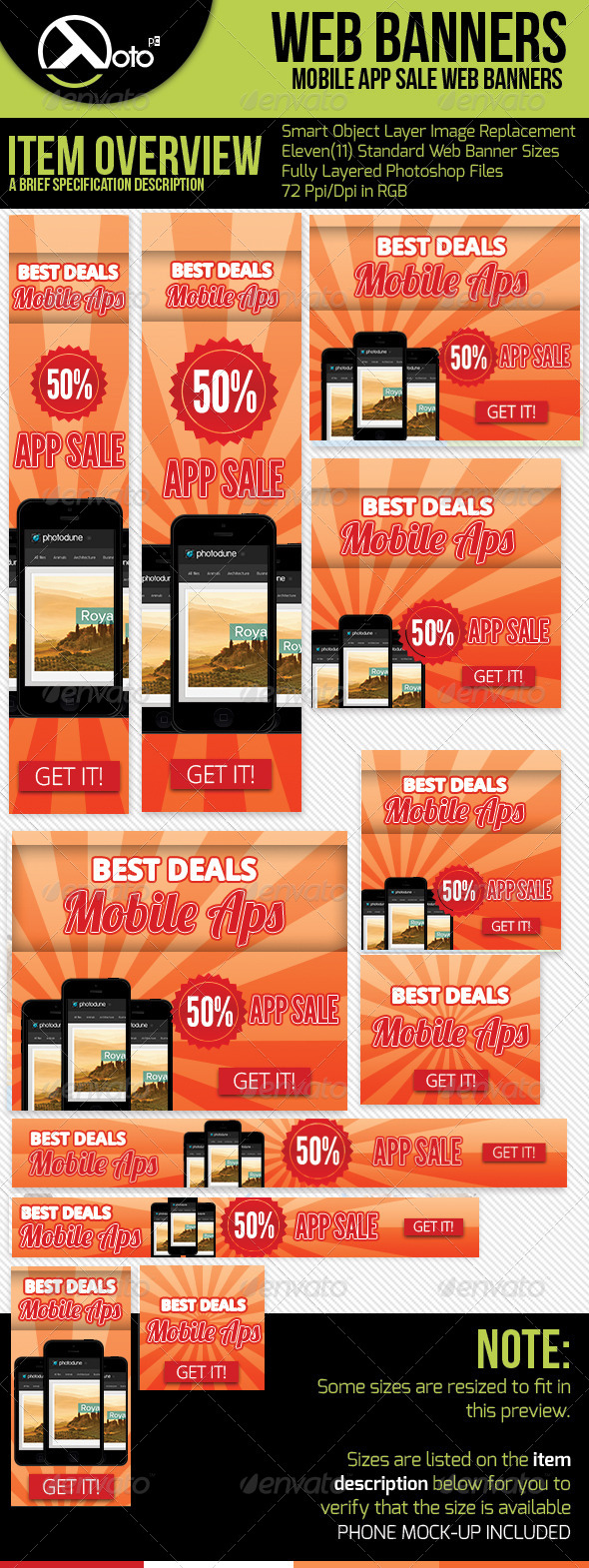 GraphicRiver App Sale Web Banners with Phone Mock-up 6185465