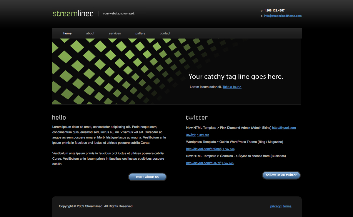 Streamlined - The homepage of Streamlined. Features a custom header graphic, custom buttons and twitter integration.