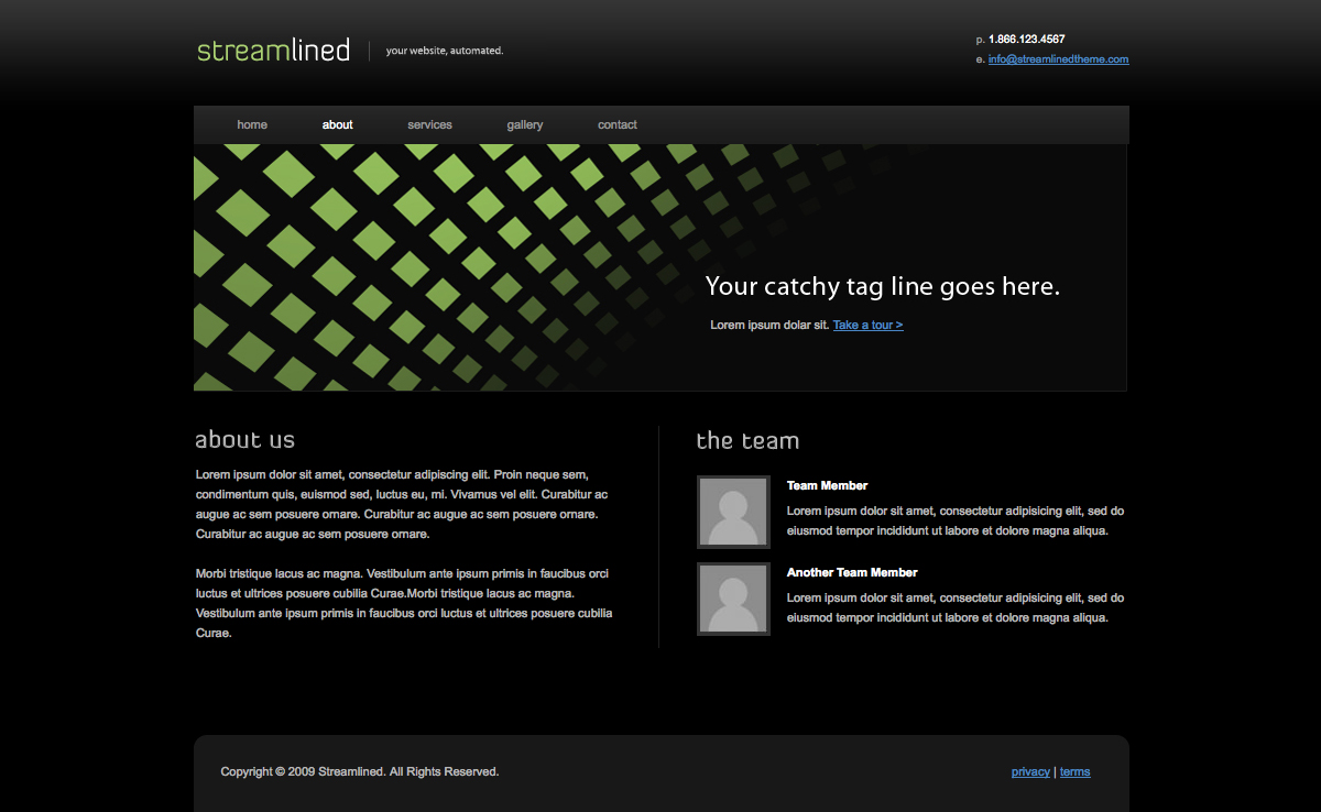 Streamlined - Streamlined - About Page. Features information about your company/organization and a list of team members w/ photos.