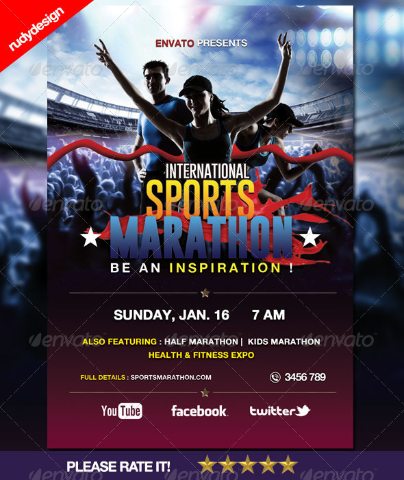 GraphicRiver Sports Marathon Run Event Flyer 6117043