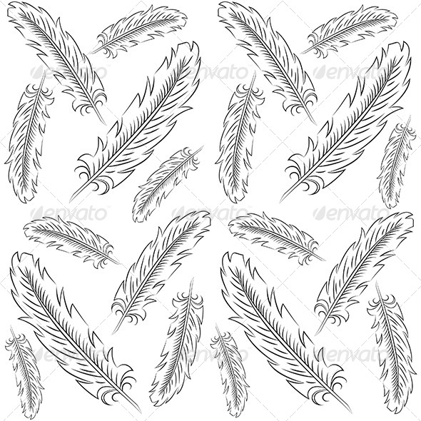 GraphicRiver Hand Drawn Feather Pattern 6185841