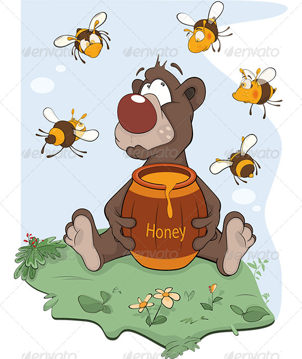 GraphicRiver Bear and a Wooden Keg with Honey Cartoon 6186702