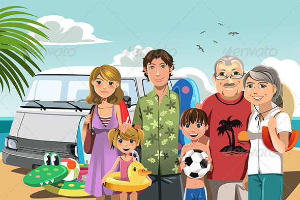 GraphicRiver Family on Beach Vacation 6186976
