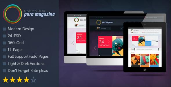 Pure Magazine: Clean Magazine/Blog/Shop/News PSD