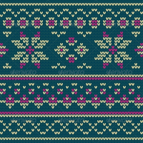 GraphicRiver Knitted Texture with Floral Pattern 6187154