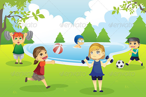 GraphicRiver Kids Exercising in Park 6187188