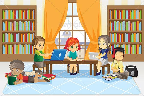 GraphicRiver Children in Library 6187669