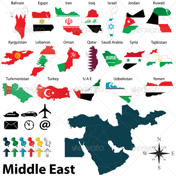 GraphicRiver Maps of Middle East 6188084
