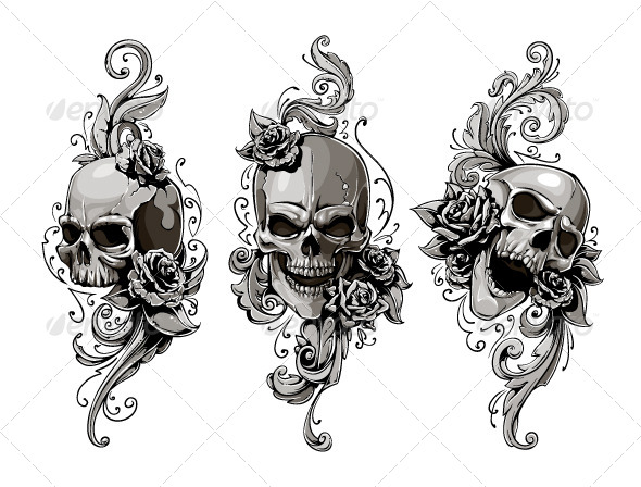 GraphicRiver Skulls with Floral Patterns 6188593