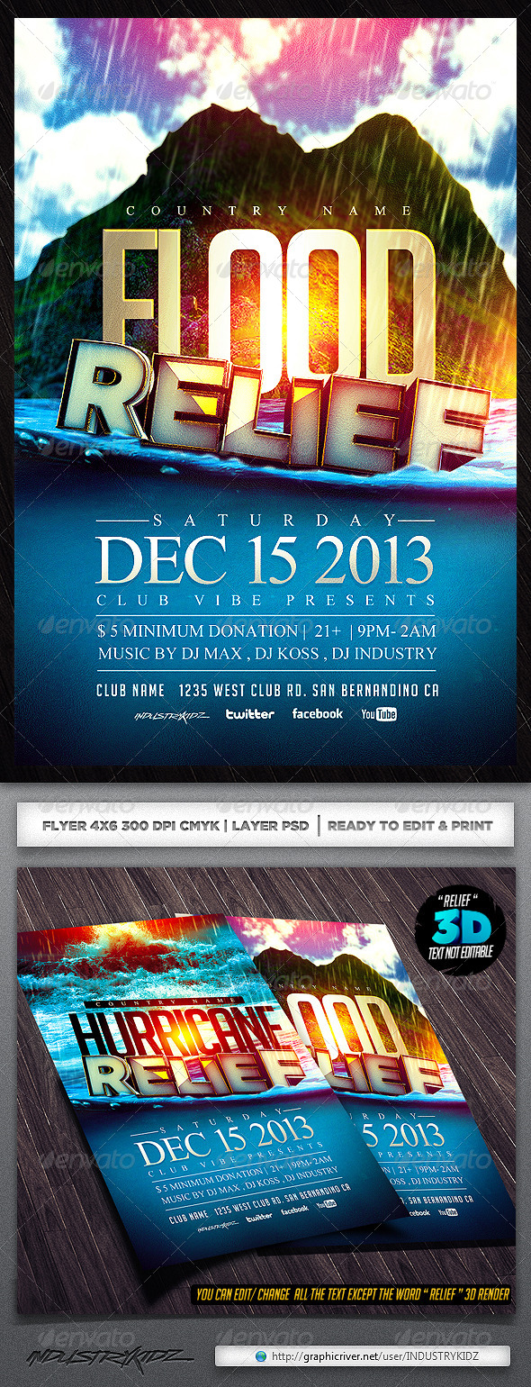 Typhoon Relief Flyer Template - Events Flyers