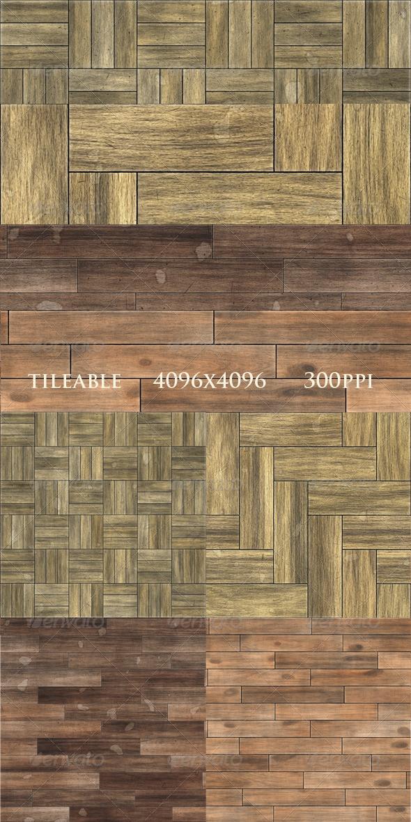 GraphicRiver 4 Worn Parquet Textures 6188700