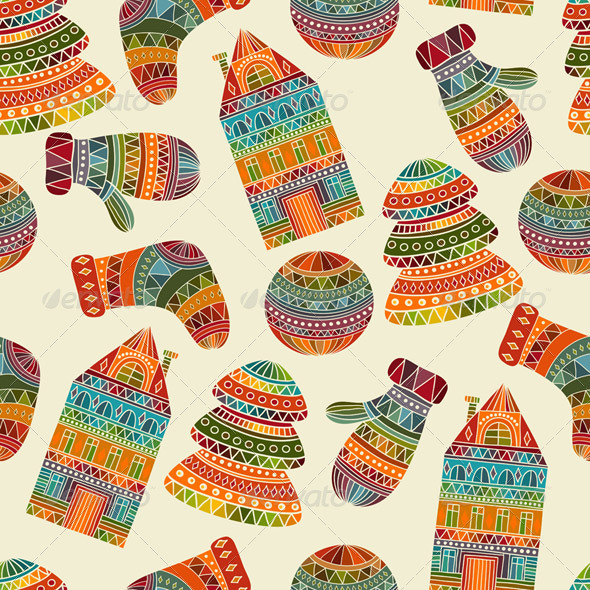 GraphicRiver Vector Seamless Winter Christmas Pattern 6188800