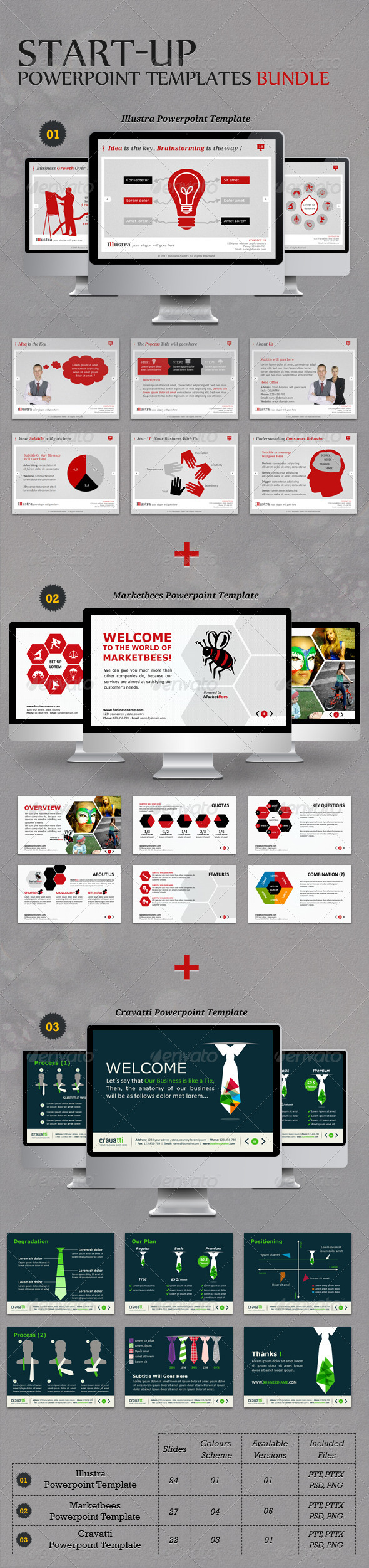 GraphicRiver Start-up Powerpoint Templates Bundle 6189643
