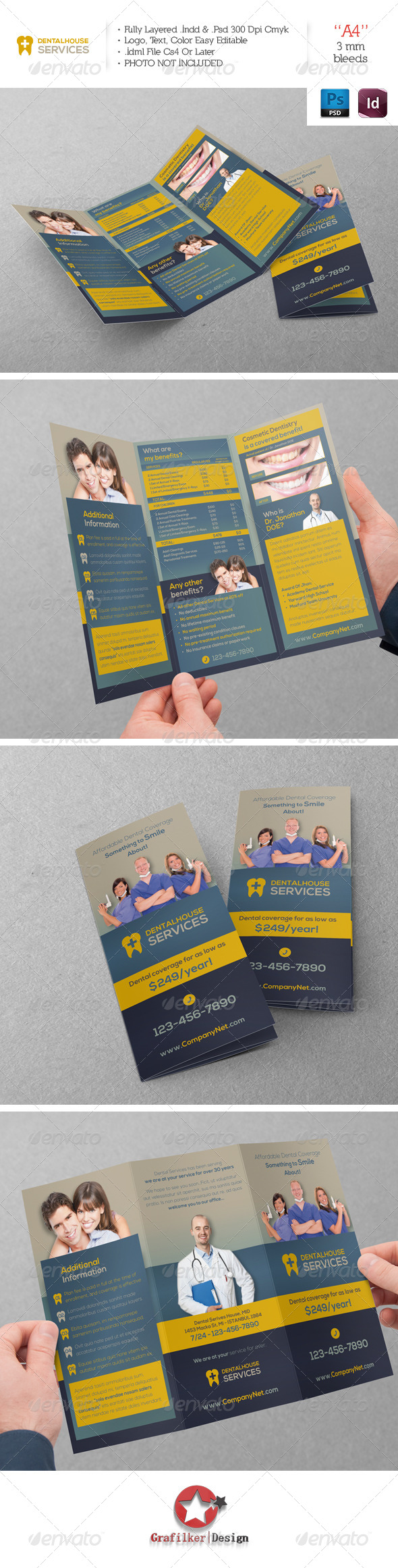 GraphicRiver Dental Services Trifold Template 6189906