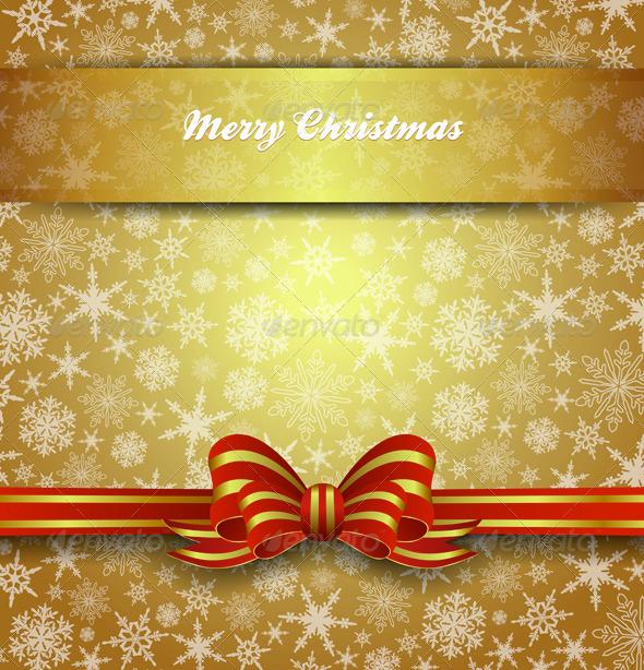 Merry Christmas Card Menu Invitation Snowflakes