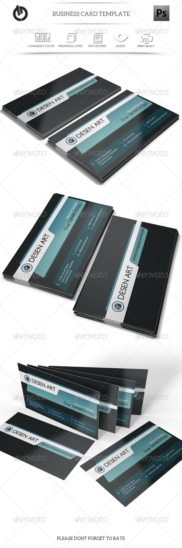 GraphicRiver Blue and Black Business Card 6190357