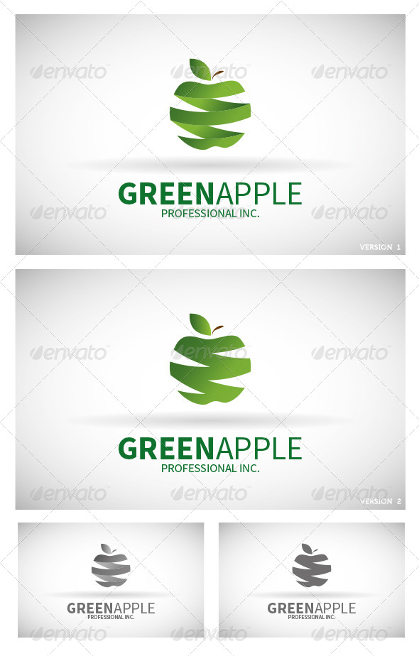 Natural Food Logo Logo Green Apple Nature Logo