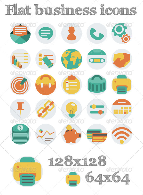 GraphicRiver Flat Business Icons 6190536