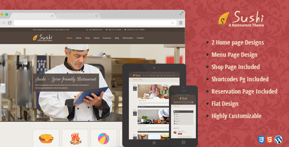 ThemeForest Sushi Restaurant WordPress Theme 6190608