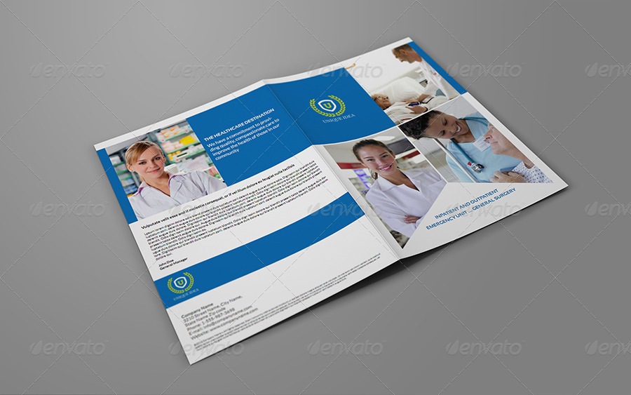 hospital bi fold brochure template by owpictures graphicriver. Black Bedroom Furniture Sets. Home Design Ideas