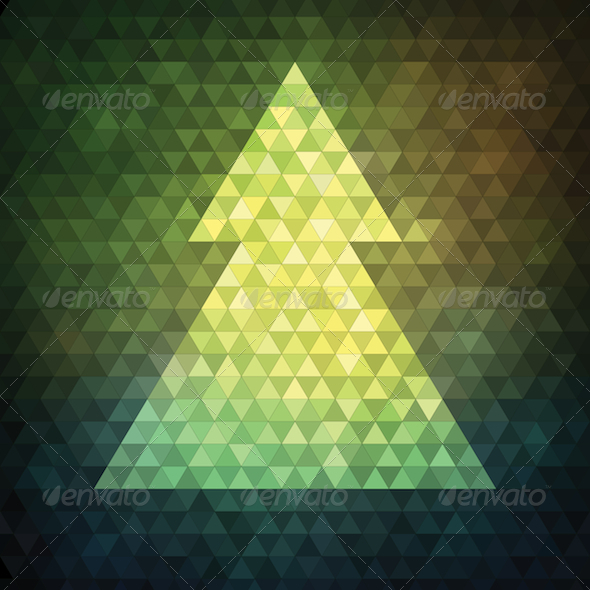 GraphicRiver Triangle Mosaic Christmas Tree 6191424
