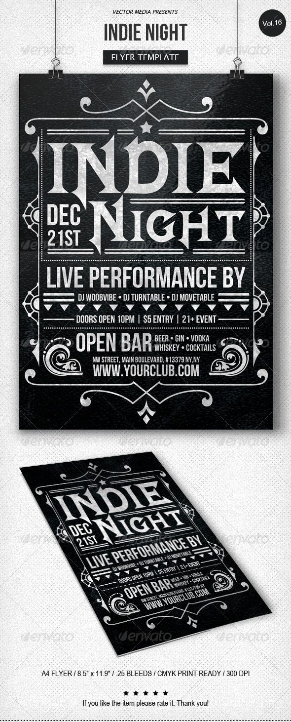 GraphicRiver Indie Night Flyer [Vol.16] 6191734