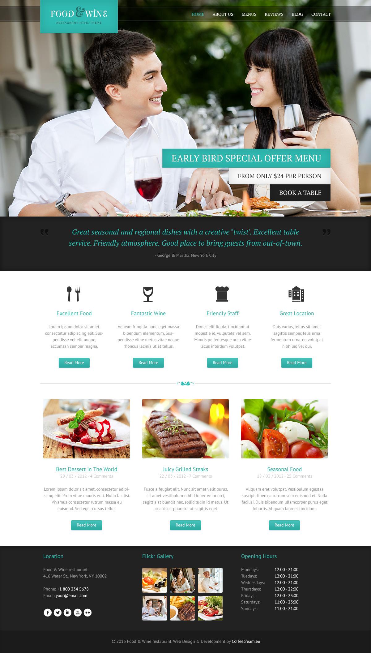 Food & Wine - Responsive WordPress Theme