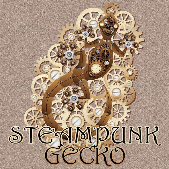 GraphicRiver Steampunk Gecko Lizard Vintage Style 6192445