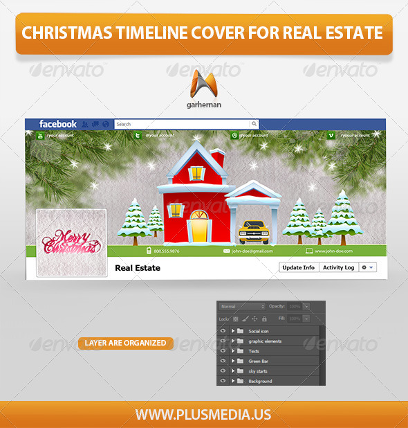 GraphicRiver Christmas Timeline Cover for Real Estate 6192538