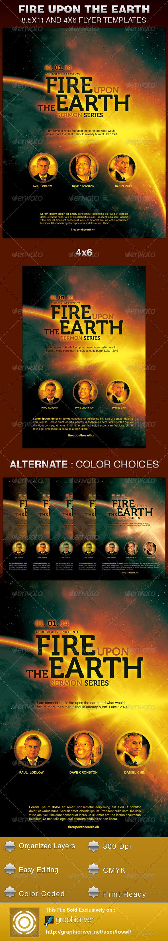 GraphicRiver Fire Upon the Earth Church Flyer Template 6192551