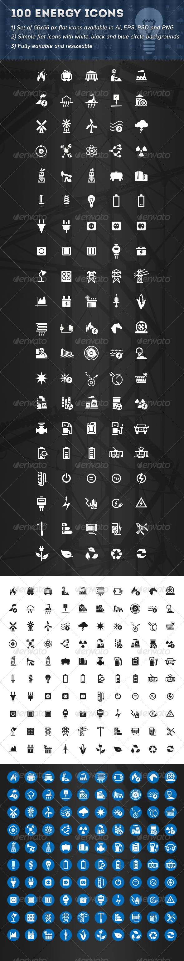 GraphicRiver 100 Energy Icons 6192579
