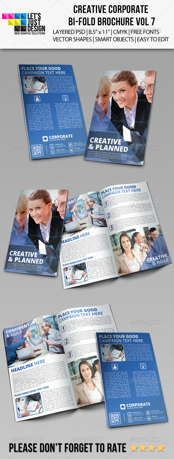 Creative Corporate Bi-Fold Brochure Vol 7 - Brochures Print Templates