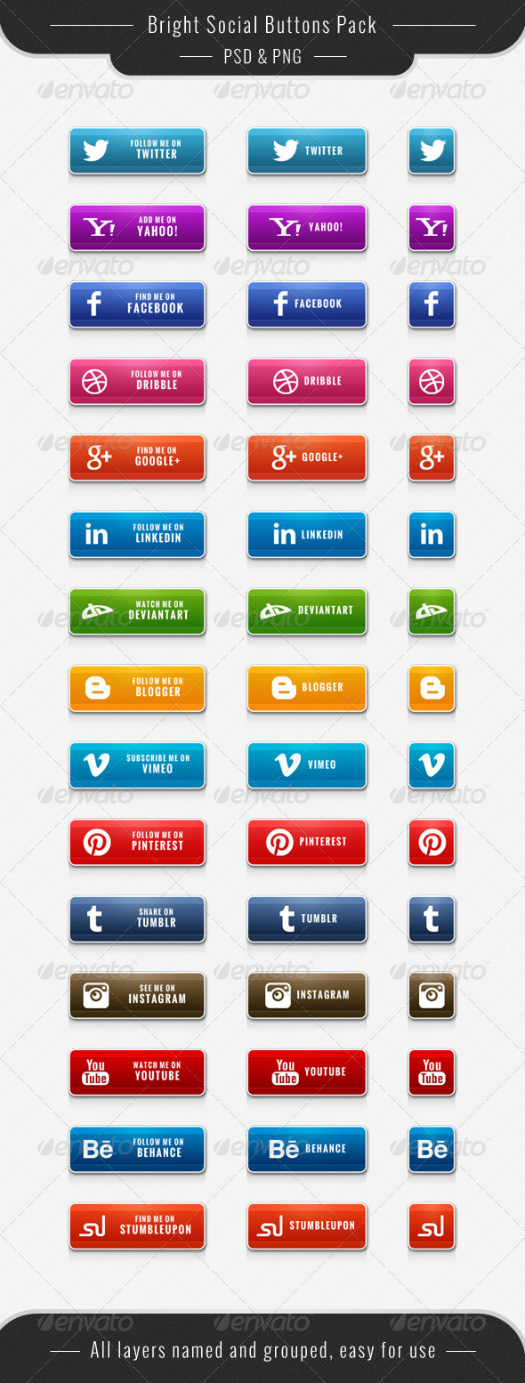 GraphicRiver Bright Social Buttons Pack 6166648