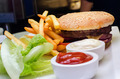 Hamburger, french fries, salad and ketchup - PhotoDune Item for Sale