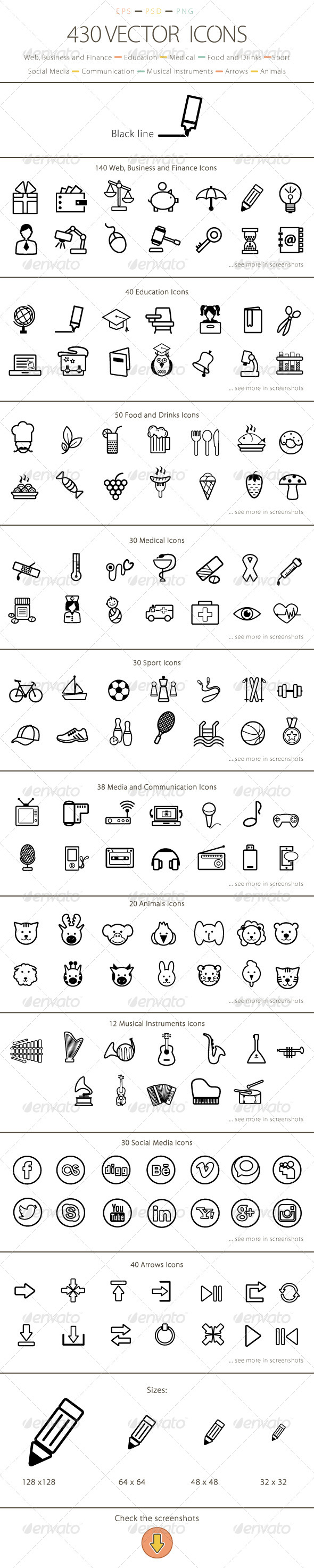 GraphicRiver Set of 430 Vector Icons Black Line 6193118
