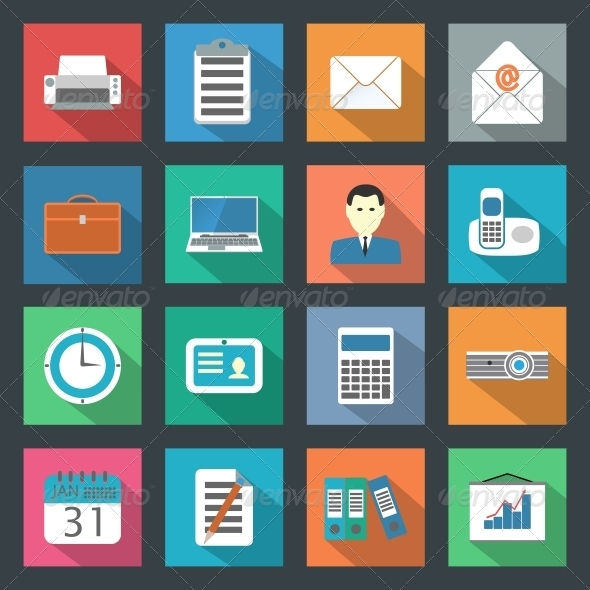 GraphicRiver Office Flat Icons Set 6193210