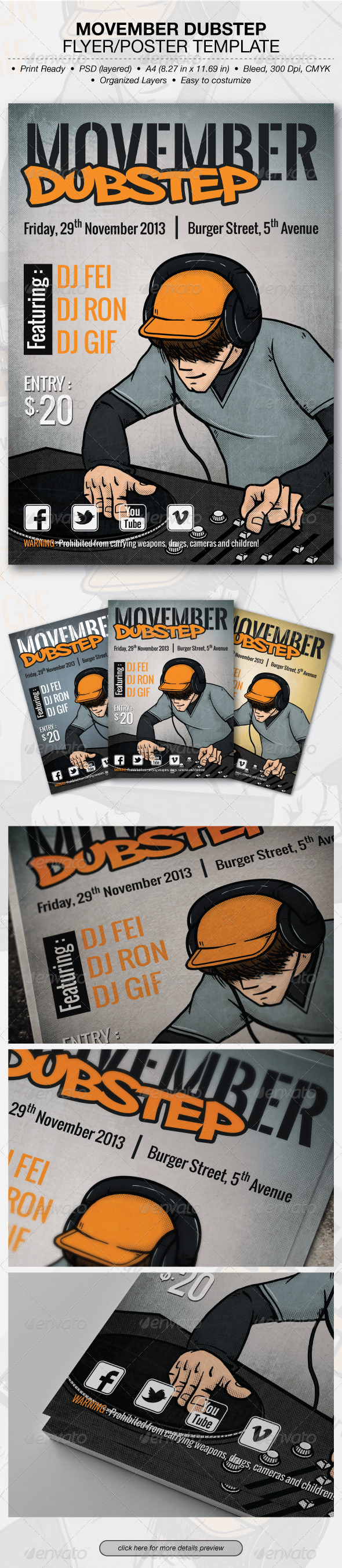 GraphicRiver Movember Dubstep Flyer Poster Template 6193772