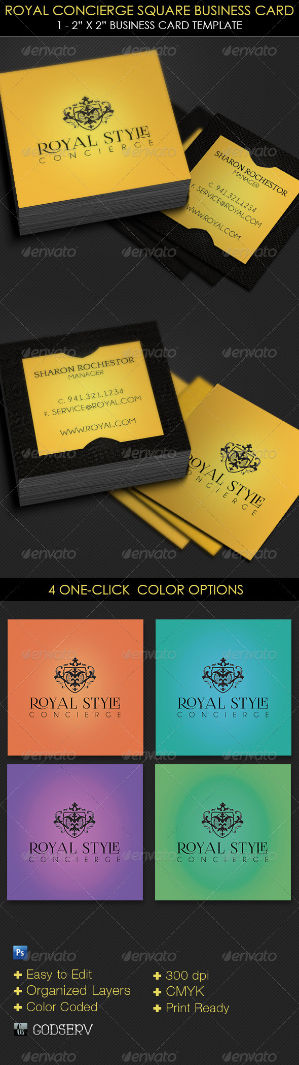 GraphicRiver Royal Concierge Square Business Card Template 6193802