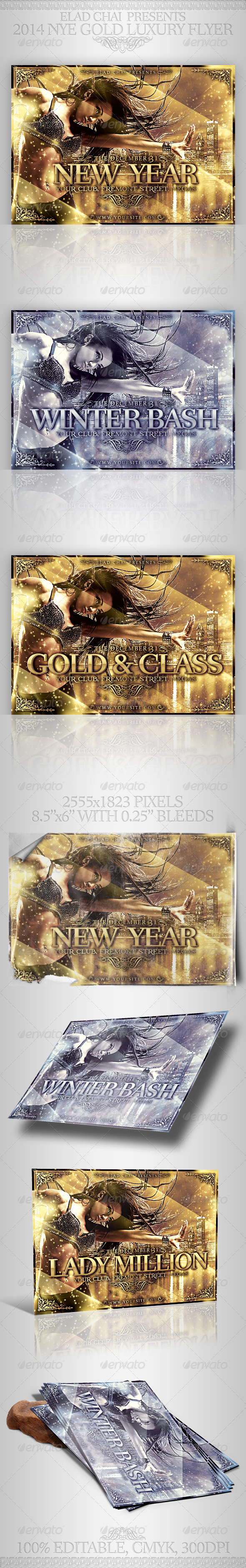GraphicRiver 2014 NYE Gold Luxury Winter Flyer 6193862