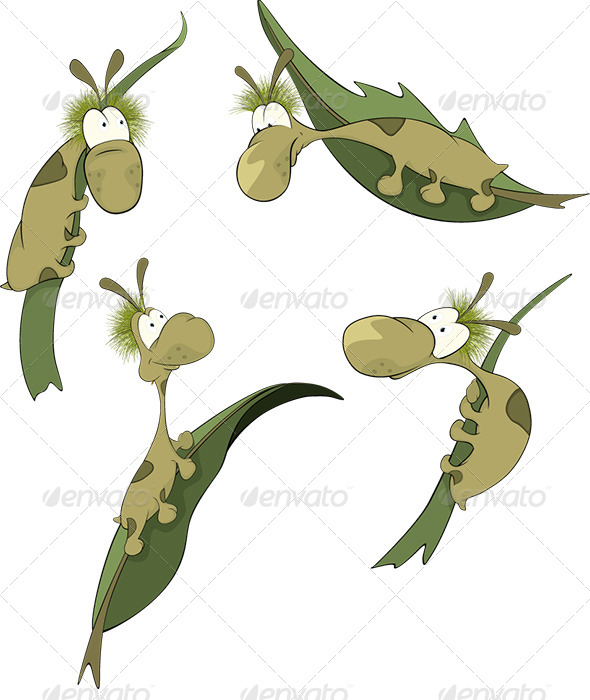 GraphicRiver Green Worms on a Leaf Cartoon 6194533