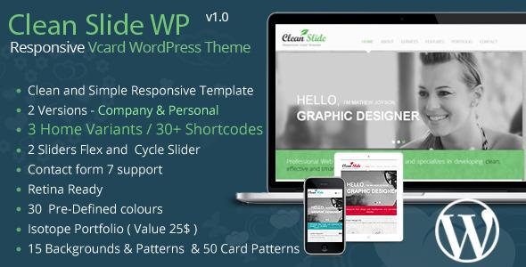 ThemeForest Clean Slide Responsive vCard Wordpress Theme 6158701