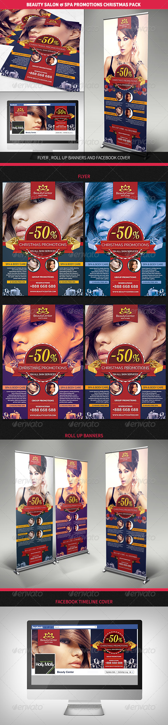 GraphicRiver Beauty Center & Spa Christmas Promotions Pack 6195034