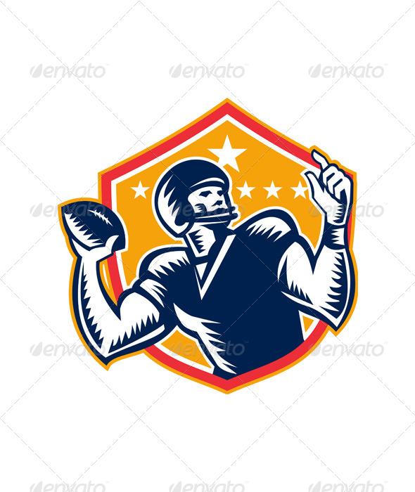 GraphicRiver American Football Quarterback QB Woodcut 6197250