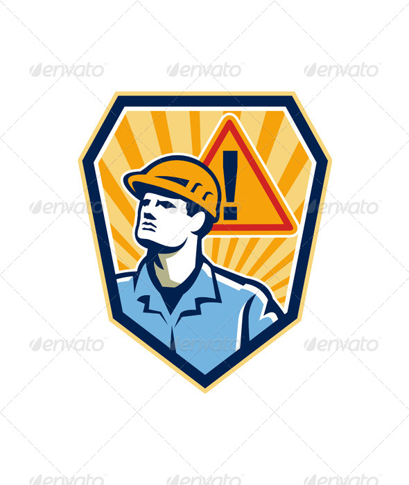 GraphicRiver Contractor Construction Worker Caution Sign Retro 6197293