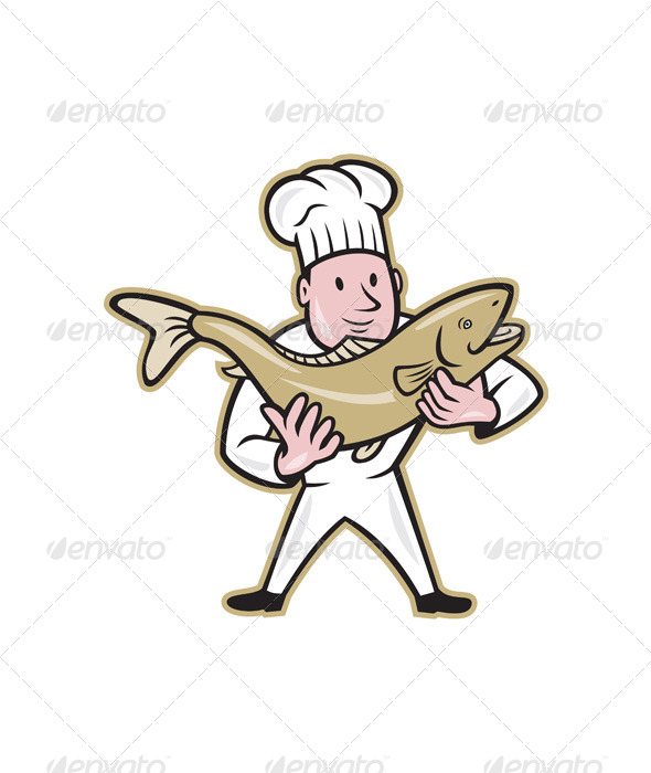GraphicRiver Chef Cook Handling Salmon Fish Standing 6197299
