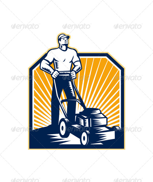 GraphicRiver Gardener Mowing Lawn Mower Retro 6197366