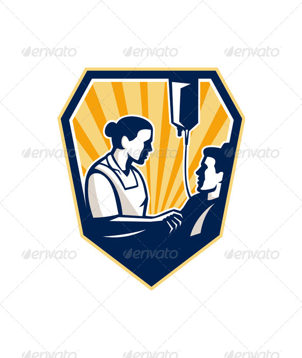 GraphicRiver Nurse Tending Sick Patient Retro 6197409