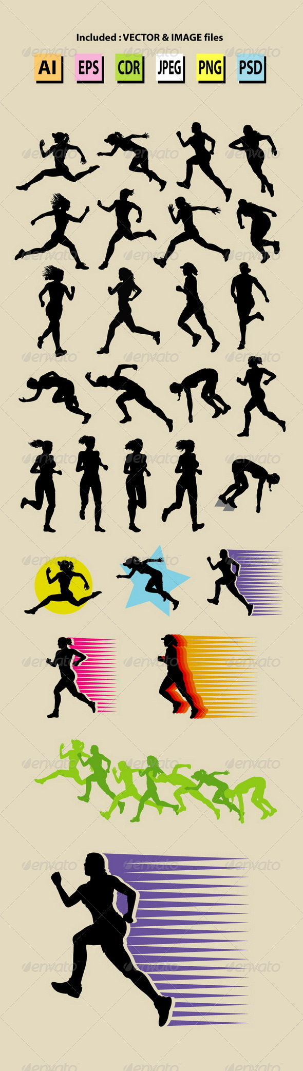 Female Running Sport Silhouettes - Sports/Activity Conceptual