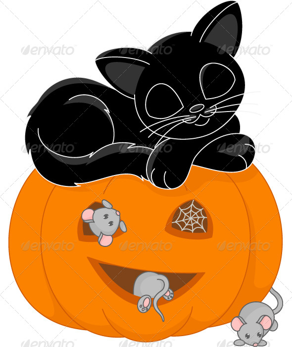 GraphicRiver Cat Sleeps on Halloween 6197638